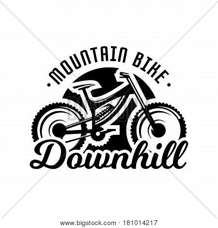 Monochrome logo, mountain bike. Downhill, freeride extreme sport Vector illustration