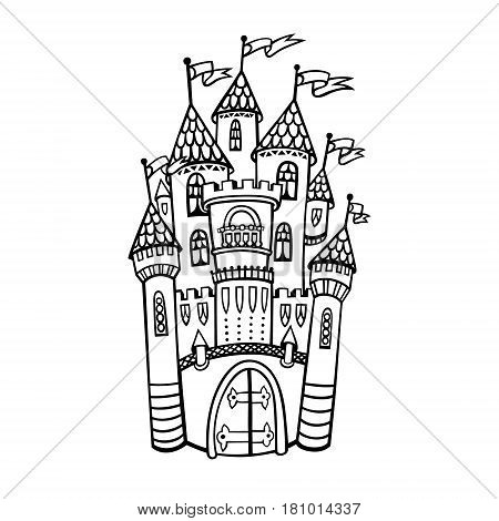 Isolated drawing medieval castle vector photo bigstock isolated drawing of a medieval castle from a fairy tale hand drawn sketch for a stopboris