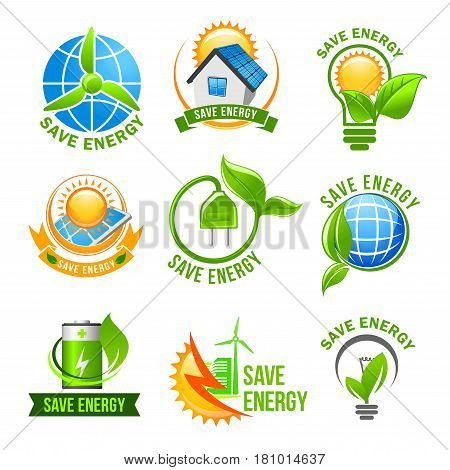 Eco green energy icon set. Green eco house with solar panel and wind turbine, light bulb with green leaf, globe, charge battery and electric plug with plant for energy saving themes design