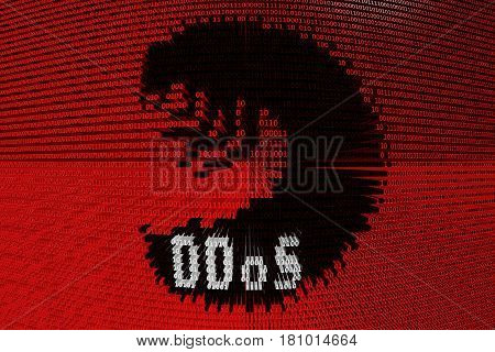 DDoS caterpillar in the form of binary code, 3D illustration