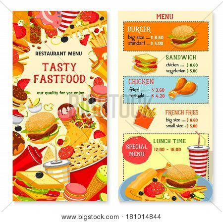 Fast food vector menu with cover and prices. Fastfood restaurant meals and lunch combo offer of burgers and sandwiches, chicken legs and barbecue wings, pizza and french fries, popcorn or ice cream