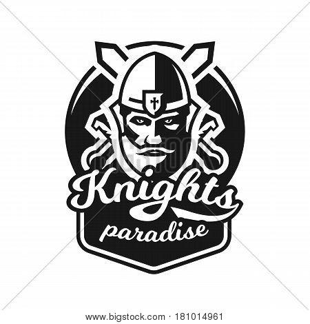 Monochrome logo, emblem, knight in helmet against the background of swords crosswise. Viking, barbarian, warrior, soldier, shield. Vector illustration
