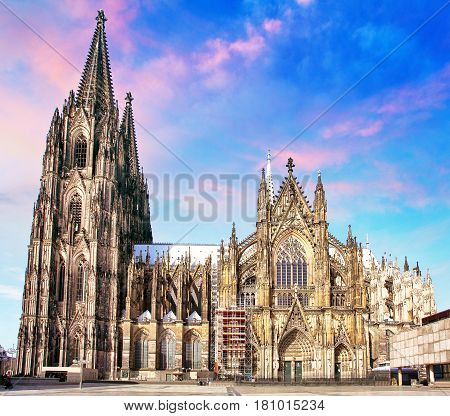 Cologne cathedral Germany at a night, nobody
