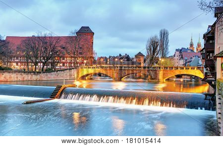 Nuremberg Germany at a Bridge at night
