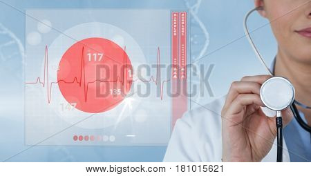 Digital composite of Digital composite image of doctor holding stethoscope by pulse trace