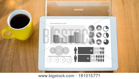 Digital composite of Various graphs on digital tablet by coffee cup at table