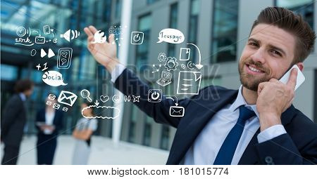 Digital composite of Businessman using mobile phone by icons representing multi tasking