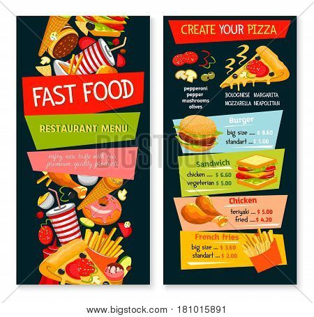 Fast food restaurant vector menu. Price design with fastfood snacks drinks and meals of hamburger and cheeseburger sandwiches, pizza and chicken legs or wings, french fries, popcorn and ice cream