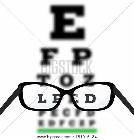Eye vision test poor eyesight myopia diagnostic on Snellen eye test chart. Vision correction with glasses. Vector.