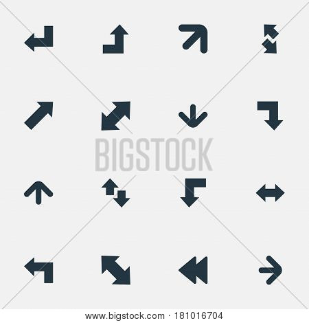 Vector Illustration Set Of Simple Cursor Icons. Elements Left Indication, Right-Up, Indicator And Other Synonyms Upwards, Upper And Up.