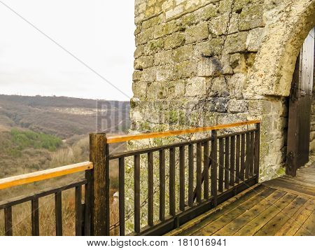 Wooden bridge and Gate of ancient fortress. Ovech Fortress, Provadia, Bulgaria