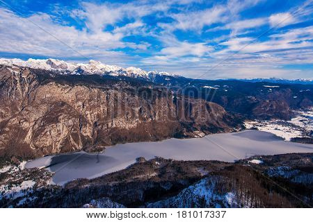 Triglav mountain above Bohinj lake valley in winter time beautiful landscape of a part of Julian Alps mountain range and national park in Slovenia Europe
