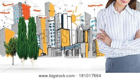 Digital composite of Digital composite of businesswoman standing arms crossed in city