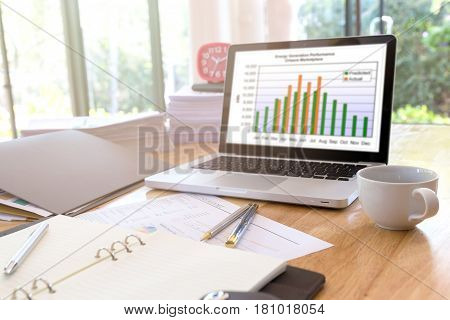 Image of business documents on workplace, Office