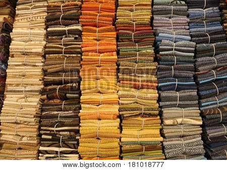 Fine Cotton Fabrics For Sale In A Haberdashery Shop