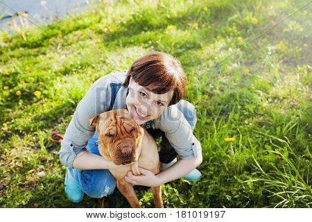 Laughing happy young woman or girl hugging her red cute dog Shar Pei in the green grass in sunny day. True friends forever people with pets concept.