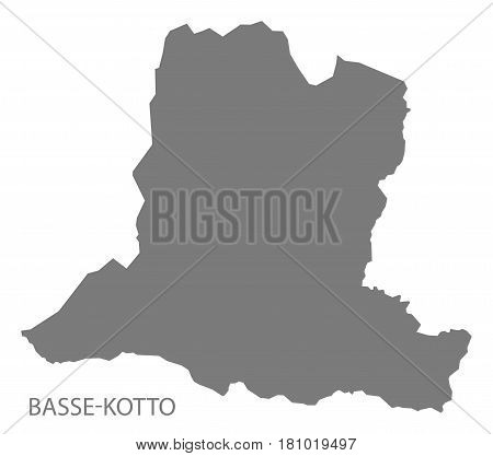 Basse Kotto prefecture map grey illustration silhouette