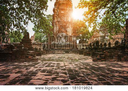 buddha statue in ayuthaya unesco world heritage site thailand