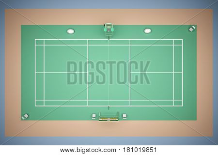 Tennis court top view with inventory. 3d rendering