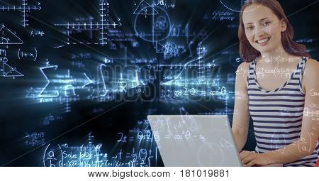 Digital composite of College student using laptop against math backgrounds