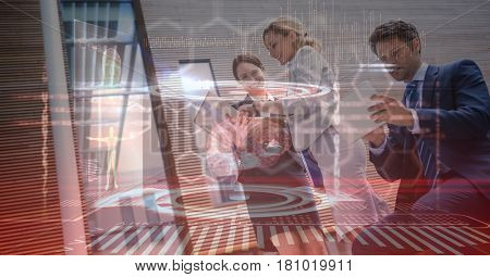 Digital composite of Digital composite image of business people using technologies