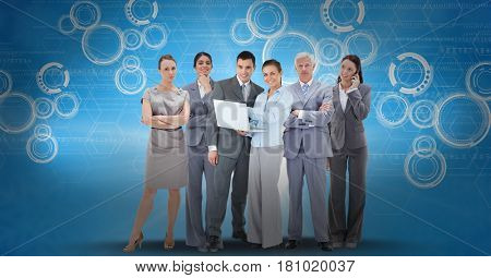 Digital composite of Digitally generated image of business people using laptop and smart phone against icons on blue back