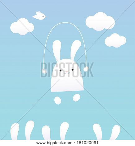 Vector illustration of a white bunny with a skipping rope. Blue sky, clouds, and bird on the background. Pastel colors.