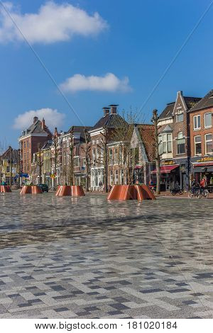 GRONINGEN, NETHERLANDS - APRIL 02, 2017: Old houses at the new Damsterplein square in Groningen, Holland