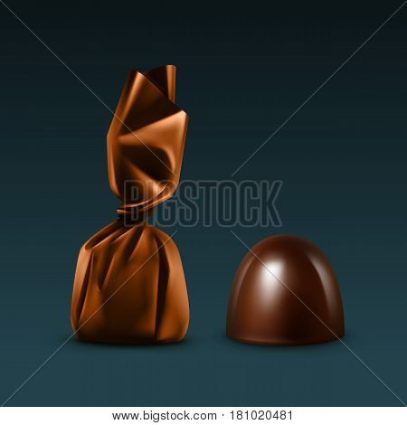 Vector Set of Realistic Dark Black Bitter Chocolate Candies in Colored Brown Glossy Foil Wrapper Close up Isolated on Dark Background