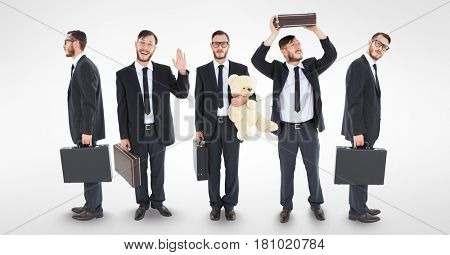 Digital composite of Multiple image of businessman doing various things