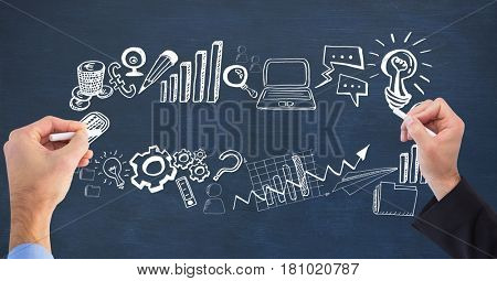 Digital composite of Business people drawing business concepts on board
