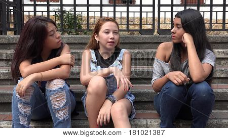A Group of Teen Girls Kids Socializing
