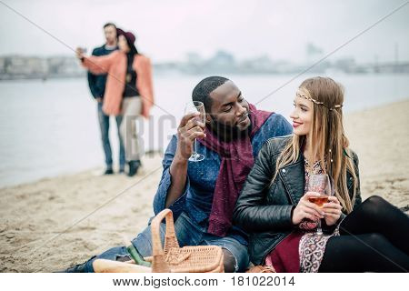 Beautiful Romantic Couple At Picnic
