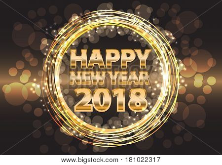 Happy New Year 2018 gold luxury on night design for holiday festival cerebration vector illustration.