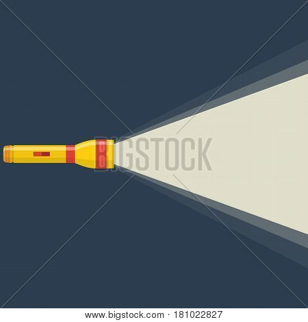 Flashlight icon on night background. Concept of flat flashlight in dark. Vector illustration in flat design