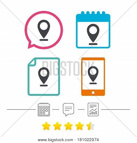 Internet mark icon. Navigation pointer symbol. Position marker sign. Calendar, chat speech bubble and report linear icons. Star vote ranking. Vector