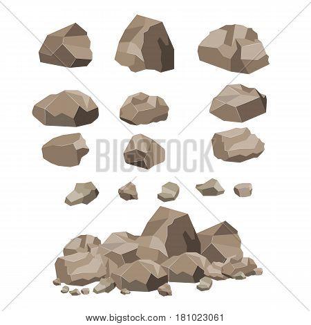 Rock stone big set cartoon. Set of different boulders. Vector illustration in flat design