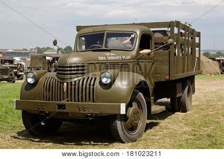 WESTERNHANGER, UK - JULY 20: A WW2 US army GS truck is driven back to its stand having just left the main show arena at the War & Peace Revival show on July 20, 2016 in Westernhanger