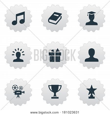 Vector Illustration Set Of Simple Trophy Icons. Elements User, Trophy, Literature And Other Synonyms Winner, Book And Surprise.