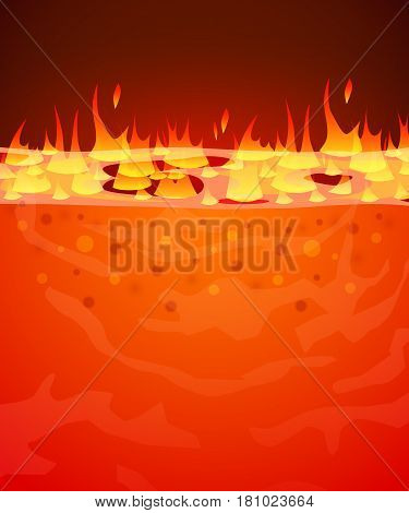 Burn flame fire vector background. Hell, lava or molten steel concept. Vector illustration.