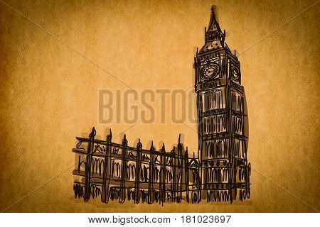Free Hand Sketch Collection: Big Ben London, England On Old Paper Texture
