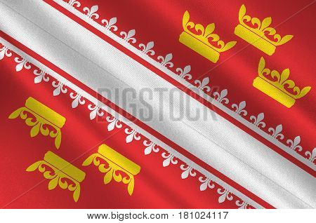 Flag of Alsace is a cultural and historical region in eastern France now located in the administrative region of Grand Est. 3d illustration