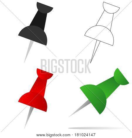 Drawing pin. Flat design vector illustration vector.