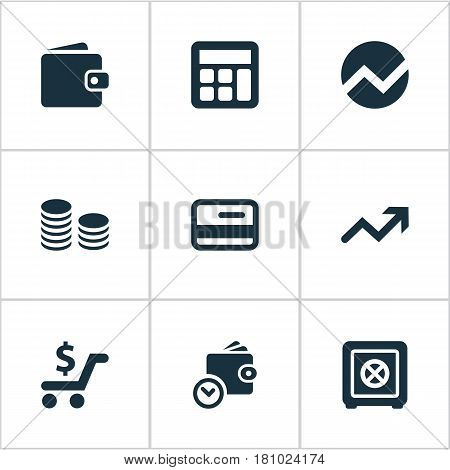 Vector Illustration Set Of Simple Investment Icons. Elements Credit Card, Strongbox, Statistic And Other Synonyms Graphic, Spending And Calculator.