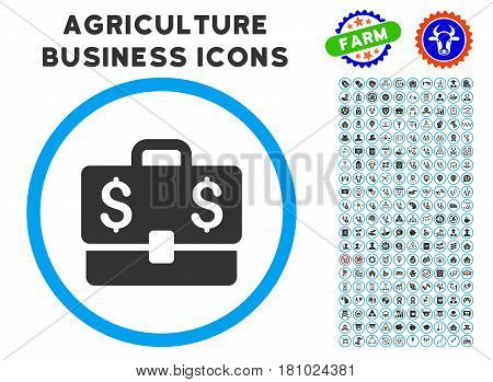 Accounting Case rounded icon with agriculture business pictogram set. Vector illustration style is a flat iconic symbol inside a circle, blue and gray colors. Designed for web and software interfaces.