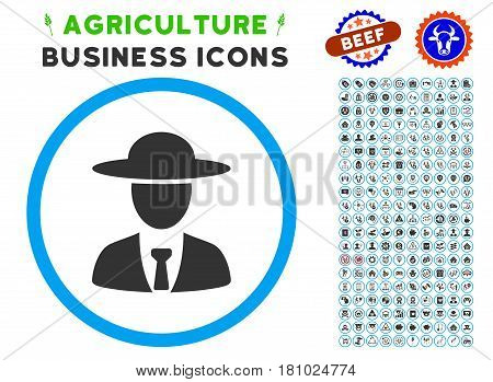 Agronomist Chief rounded icon with agriculture commercial pictogram clip art. Vector illustration style is a flat iconic symbol inside a circle, blue and gray colors.