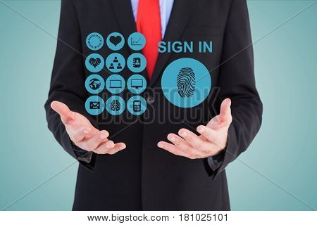 Digital composite of Midsection of businessman with sign in icons