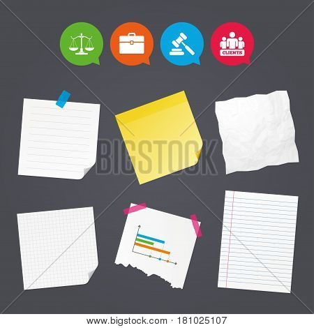 Business paper banners with notes. Scales of Justice icon. Group of clients symbol. Auction hammer sign. Law judge gavel. Court of law. Sticky colorful tape. Speech bubbles with icons. Vector