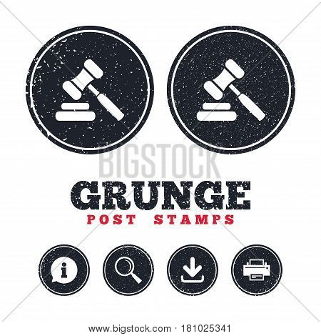 Grunge post stamps. Auction hammer icon. Law judge gavel symbol. Information, download and printer signs. Aged texture web buttons. Vector