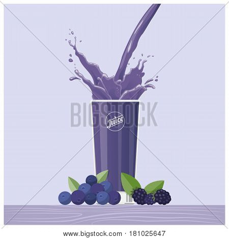 Purple juice pouring into a glass with blackberries and blueberries healthy drink concept